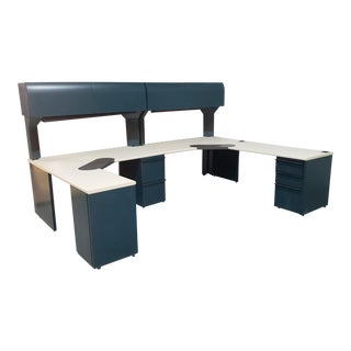 "Large Malachite Green & Sand Laminate Knoll Morrison Commercial Multi Station Office Desk System 120"" X 90"" 1994 For Sale"