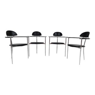 Arrben Italy Stiletto Chrome & Black Leather Arm Chairs- Set of 4 For Sale