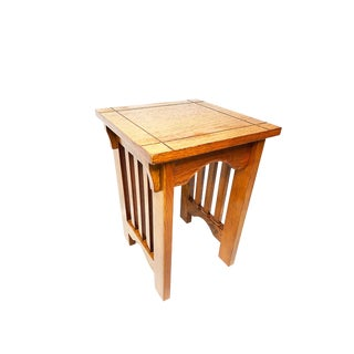 1900s Antique Mission & Craftsman Solid Oak Slatted Stool For Sale