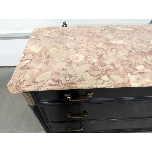 Hollywood Regency Directoire Style Marble Top Ebonized Commode For Sale - Image 3 of 12