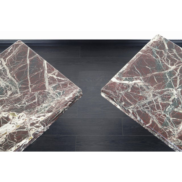 Purple Vintage Italian Marble Side Tables - a Pair For Sale - Image 8 of 11