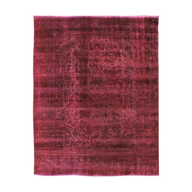 Mid 20th Century Vintage Overdyed Wool Rug For Sale In New York - Image 6 of 6