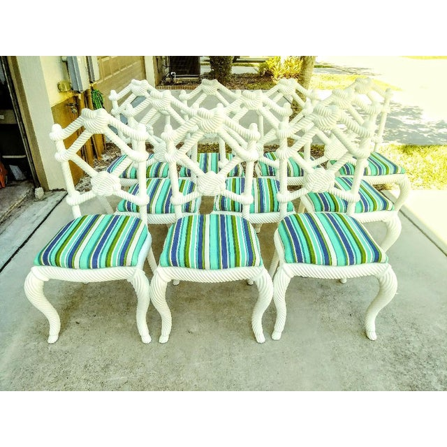 Set of 10 Stunning Gloss White Rope Knot Nautical Coastal Twisted Dining Room Chairs W/Blue Striped Fabric For Sale - Image 11 of 11
