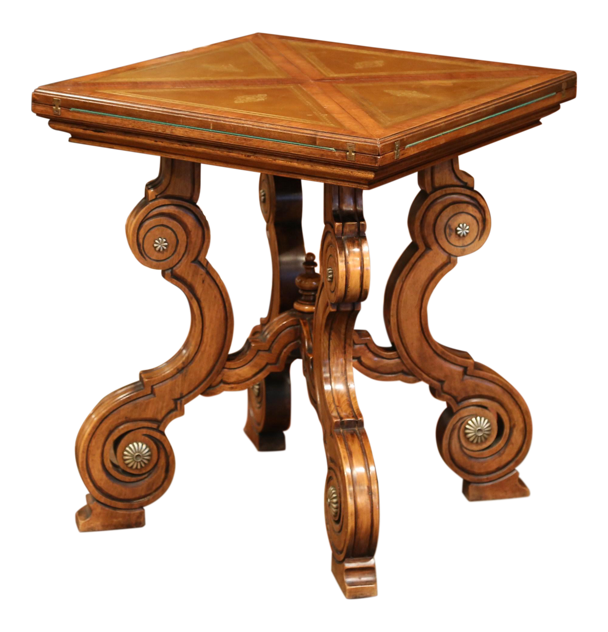 19th Century French Louis XIII Carved Walnut Game Table With Leather And  Felt   Image 1