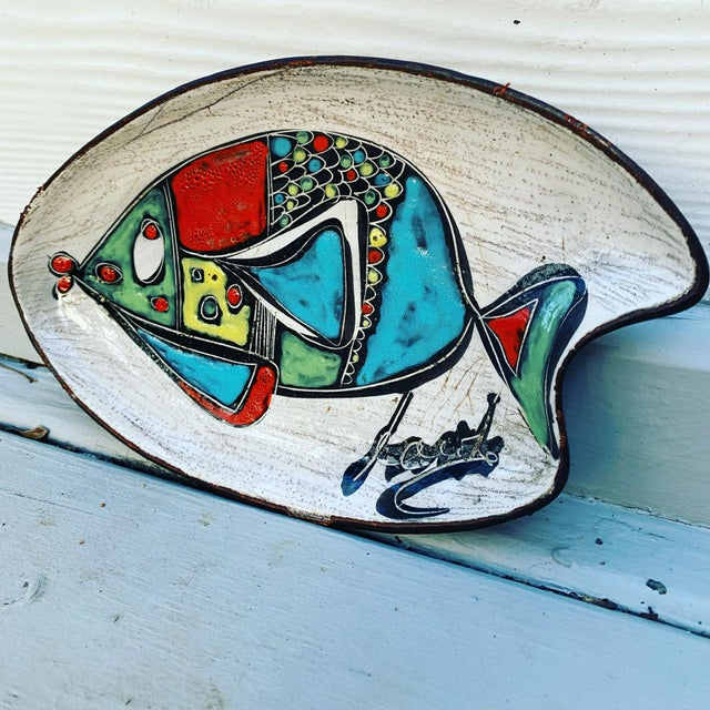 Red Leather Wrapped Ceramic Hand-Painted Tray in the Style of Marcello Fantoni For Sale - Image 8 of 8