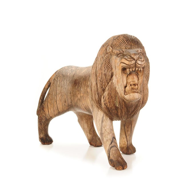 "Roaring Lion Antiques 23"" Carved Wood Sculpture - Image 2 of 9"
