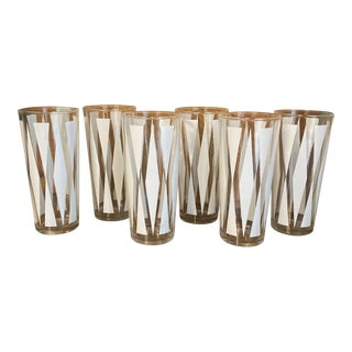 Mid-Century Modern Geometric Design High Ball Glasses- Set of 6 For Sale