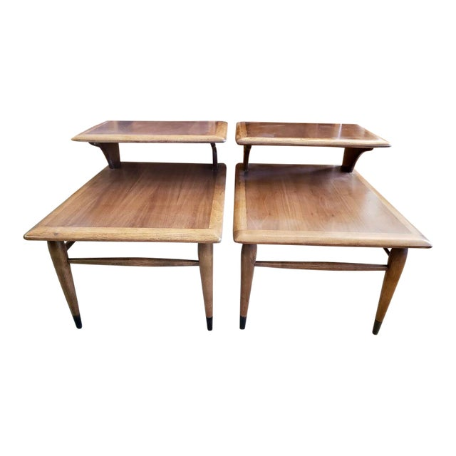 1963 Mid Century Modern Lane Walnut Step Side Tables - a Pair For Sale