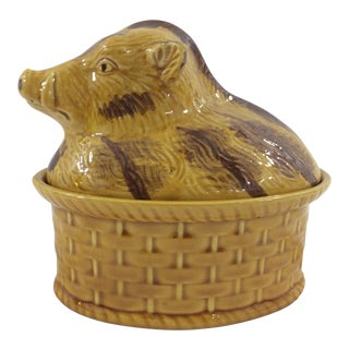 French Faience Paté Dish With Boar For Sale