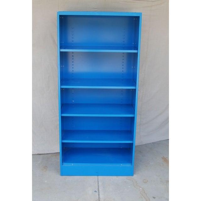 Blue Vintage Metal Bookcase - Image 3 of 5