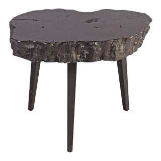 Organic Modern Black Lychee Living Edge Accent Table For Sale