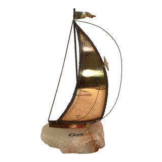 Vintage Brass Sailboat Stone Base Signed De Mott For Sale