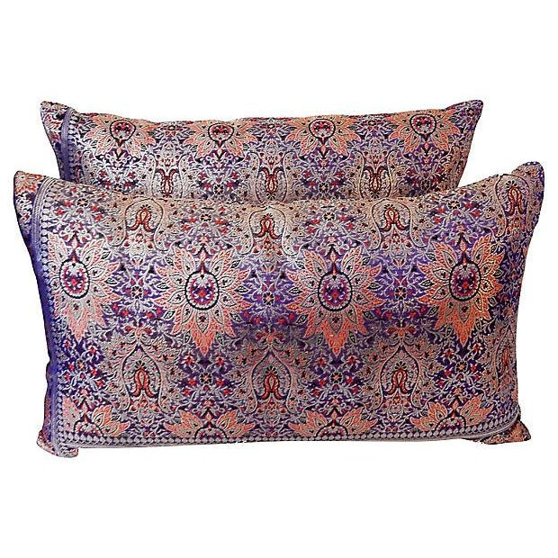 Lumbar Thai Silk Pillows, S/2 - Image 2 of 5
