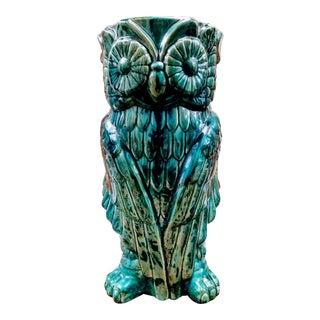 Turquoise Tall Ceramic Owl Umbrella Holder Stand