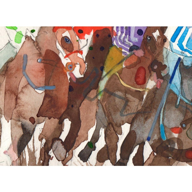 "Steve Klinkel ""The Race"" Watercolor Painting - Image 2 of 2"