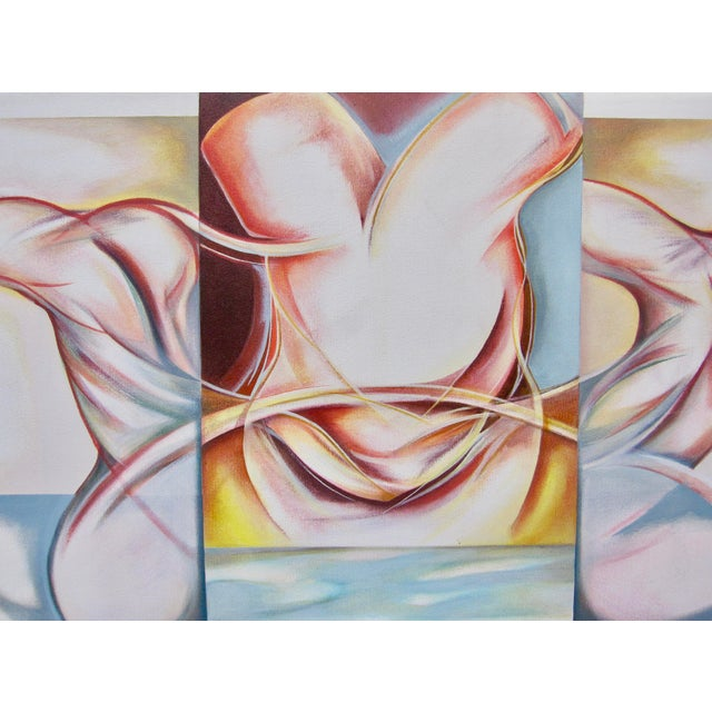 Contemporary Vintage Abstract Anatomical Nudes Painting by Lynn Schuette For Sale - Image 3 of 8