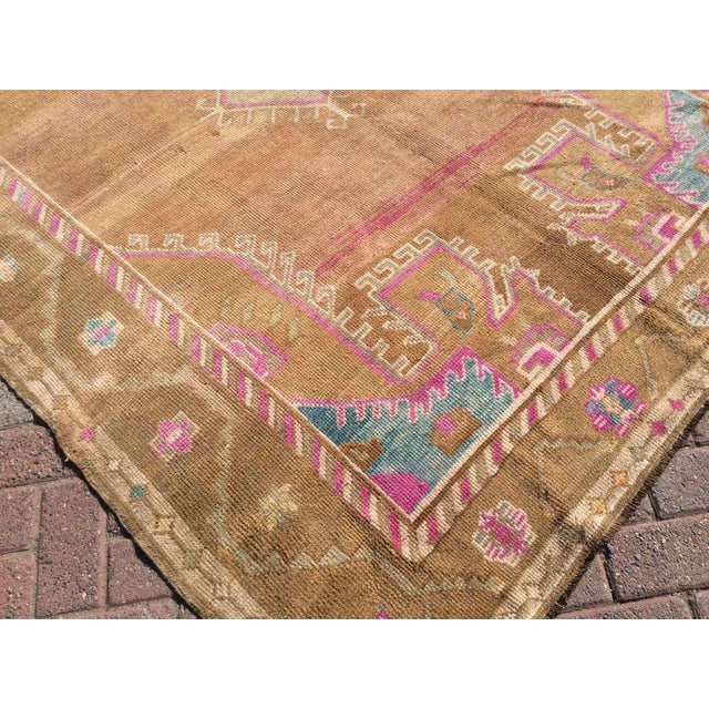 Textile Hand Knotted Brown Turkish Rug For Sale - Image 7 of 12