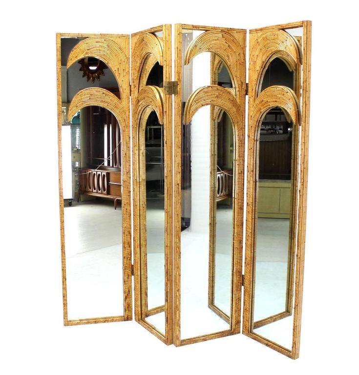 Distinguished Figural Burnt Bamboo Large Folding Screen Room Divider