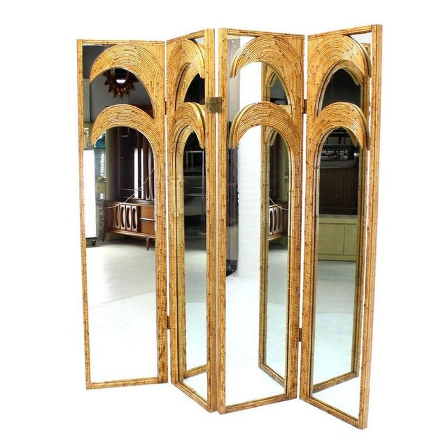 Very nice one of a kind outstanding design and craftsmanship burnt bamboo room divider screen. One side is mirrored. All...