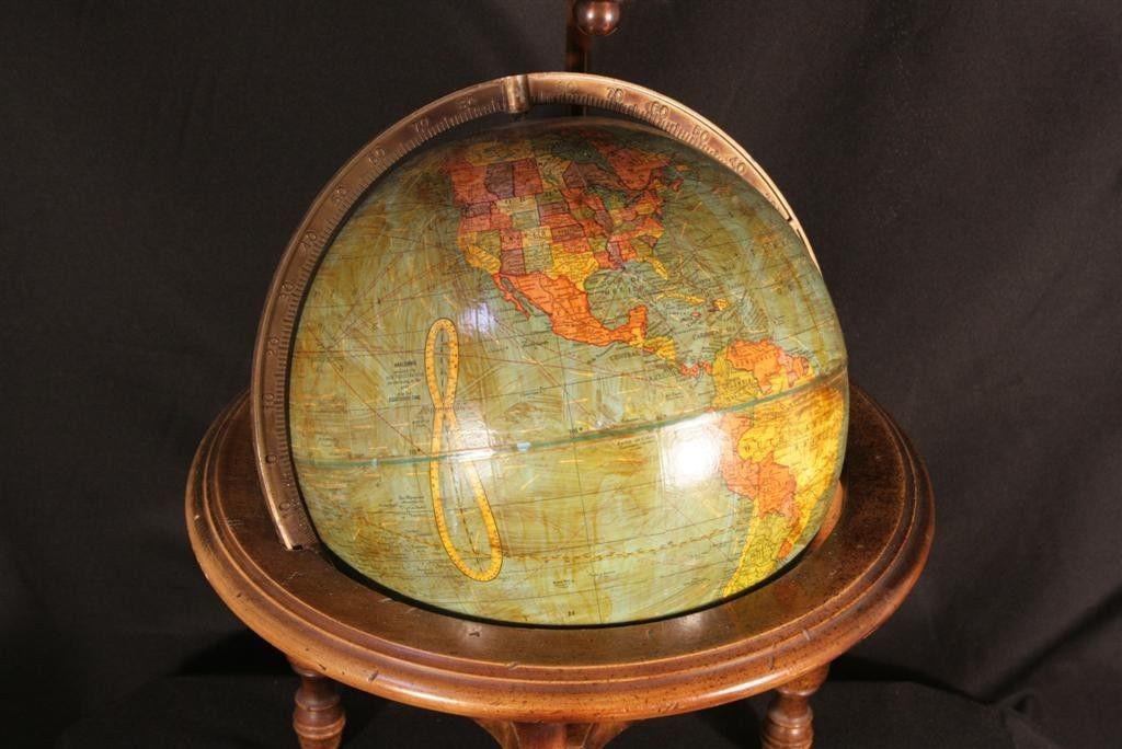 Antique George F Cram Table Desk Lamp Terrestrial 10 5 World Globe