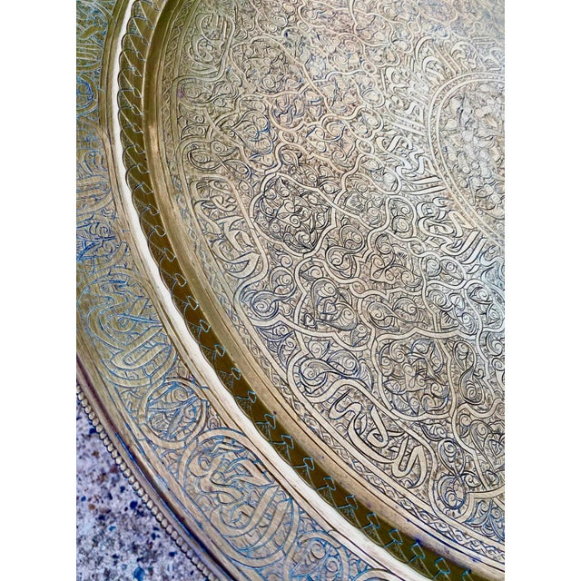 Moorish Chic Moroccan Engraved Brass Tray Table For Sale In New York - Image 6 of 8