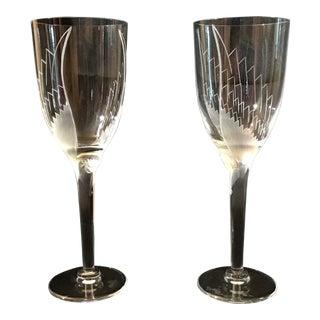 1960s Lalique Cherub Face Angel Champagne Flute Wine Glasses - A Pair For Sale