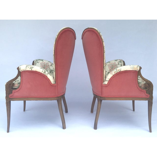 French Carved French Hollywood Regency Style Butterfly Wing Chairs For Sale - Image 3 of 10