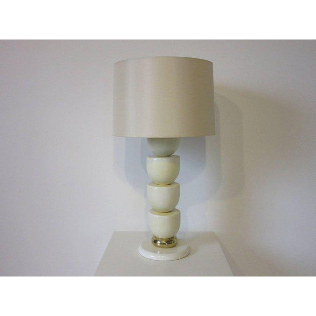 Brass 1970s Lacquered Wood and Brass Table Lamp For Sale - Image 7 of 7