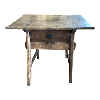 18th Century Traditional Spanish Tavern Oak Side Table