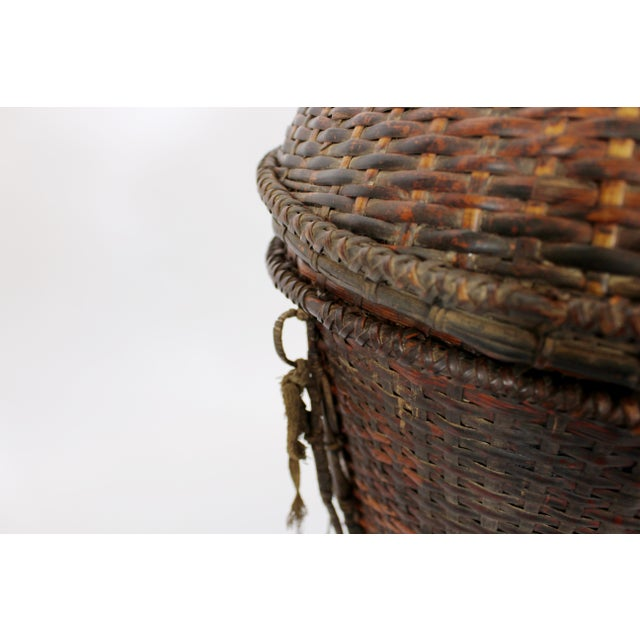 Textile Woven Storage Basket with Lid For Sale - Image 7 of 10
