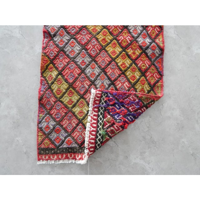 Masterwork Hand-Woven Rug Braided Small Kilim 1′6″ × 4′5″ For Sale In Dallas - Image 6 of 7