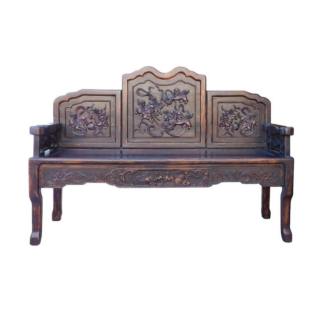 Pleasing Chinese Floral Double Seat Bench Evergreenethics Interior Chair Design Evergreenethicsorg