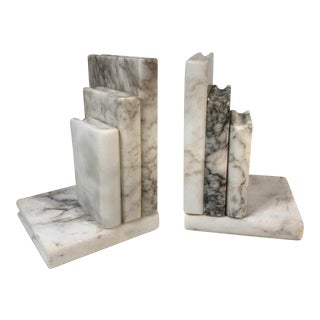 Vintage White Alabaster or Italian Marble Bookends - a Pair For Sale