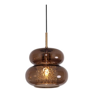 Pendant by Carl Fagerlund for Orrefors in Brown and Bubble Glass Piece For Sale