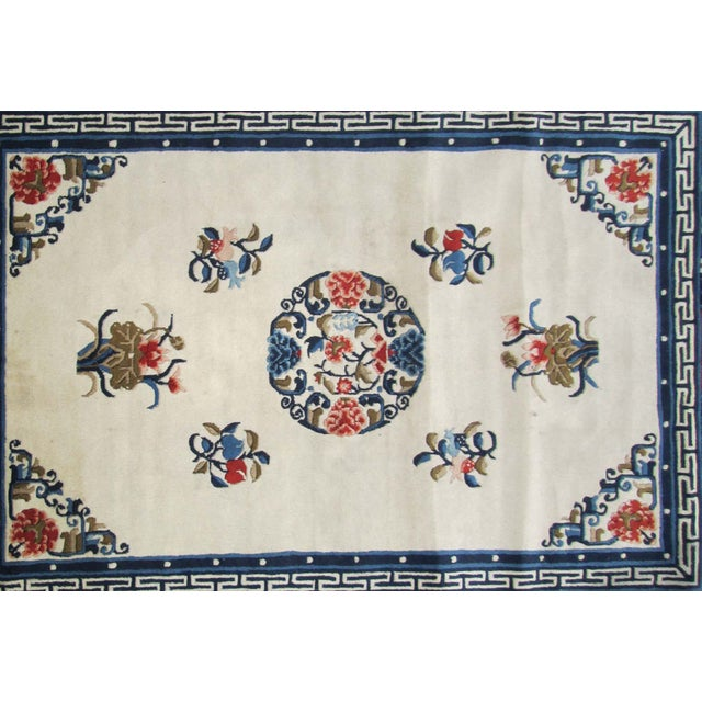 Asian Chinese Handmade Peony Floral Rug For Sale - Image 3 of 3