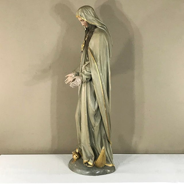 19th Century Hand-Painted Polychrome Madonna For Sale - Image 9 of 12