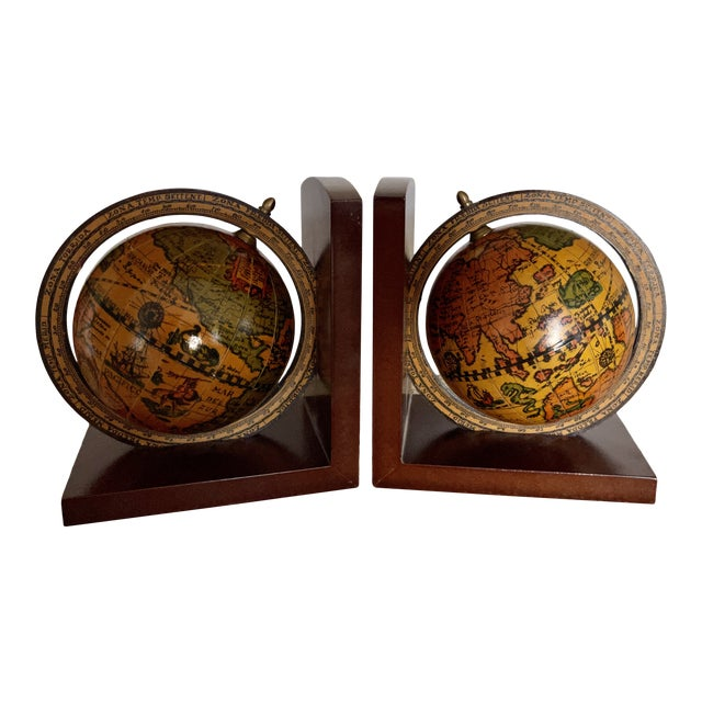 Vintage Old World Rotating Globe Bookends-a Pair For Sale