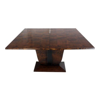 Flip-Top Burl Wood Dining Large Console Table Deco Figural Base For Sale