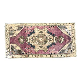 Vintage Floral Turkish Handmade Red Small Rug For Sale