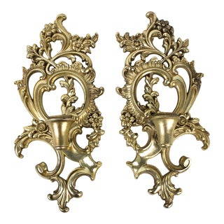 Hollywood Regency Syroco Wood Candle Sconces - a Pair For Sale