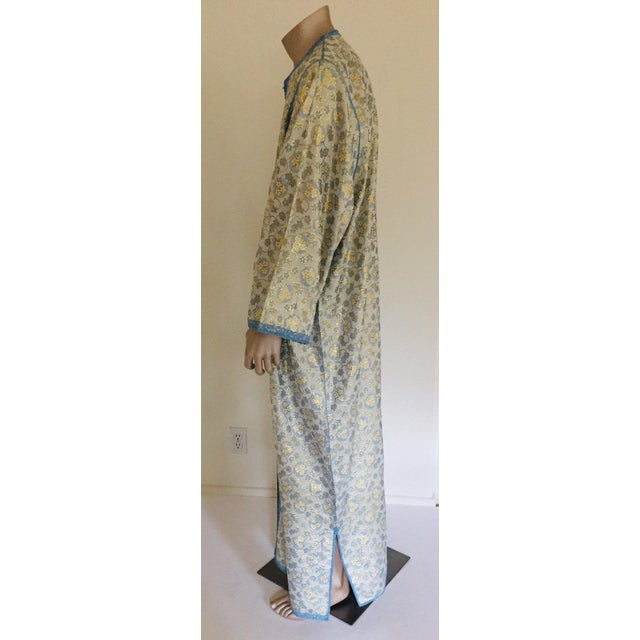 Metal Metallic Blue and Silver Brocade 1970s Maxi Dress Caftan, Evening Gown Kaftan For Sale - Image 7 of 13