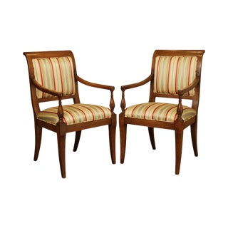 John Stuart Vintage Walnut French Empire Style Pair Armchairs For Sale