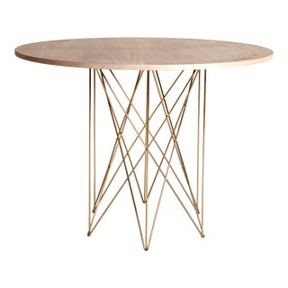 Caroline Outdoor Teak Dining or Entry Table, Mid-Century Inspired with Stainless Steel Gold Powder Coated Base For Sale