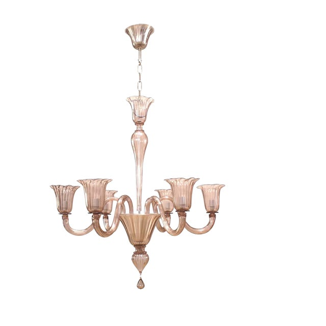 Italian 1950s Venetian Murano Amethyst Colored Six-Arm Chandelier For Sale