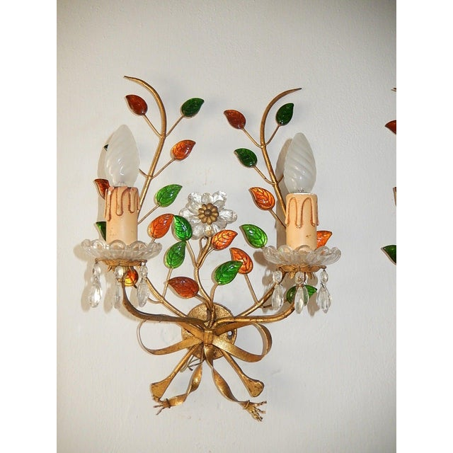 Crystal French Maison Bagues Style Colored Floral Beaded Sconces For Sale - Image 7 of 10