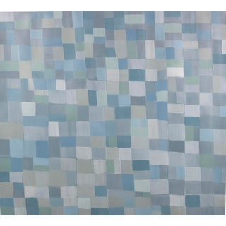 """Lucas Kelly """"Wop10"""", 2018 Blue Gray Neutral Abstract Painting on Paper For Sale"""