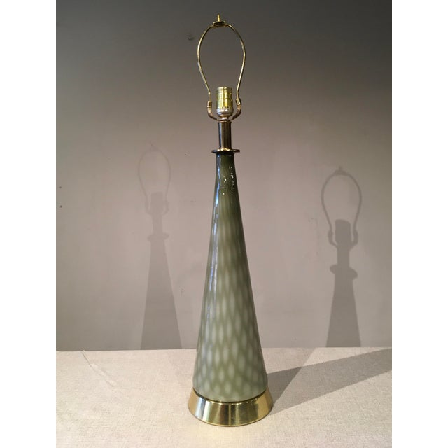 Vintage Gray Green Art Glass Mid Century Table Lamp For Sale - Image 9 of 9