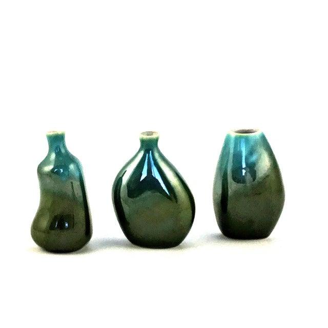 Green Vintage Organic Jaru Style Bud Vases - Set of 3 For Sale - Image 8 of 8