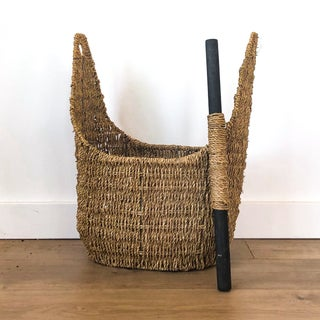 Vintage Woven Basket With Removable Wood Handle Preview