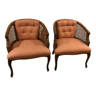 Mid-Century Barrel Cane Chairs - A Pair For Sale